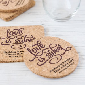 Personalized Baby Shower Cork Coasters