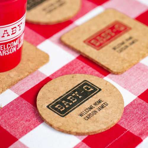 Personalized Bbay-q Baby Shower Cork Coasters