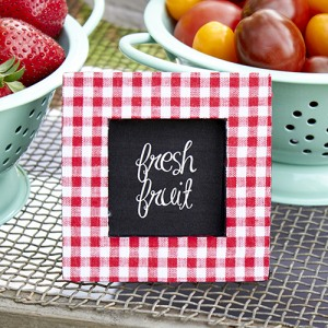 Red Gingham Print Photo Frame