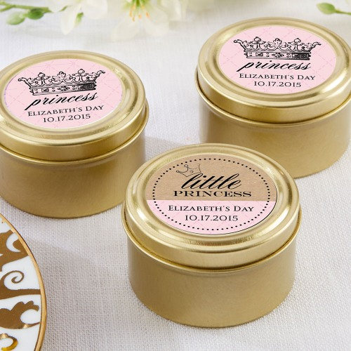 Personalized Princess Theme Gold Candy Tins