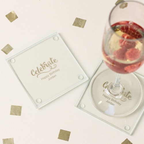 Personalized Celebrate Birthday Glass Coasters