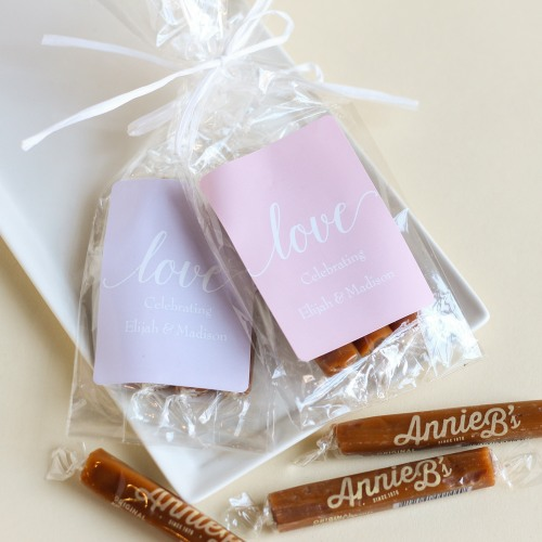 Personalized Love Script Caramel Favors