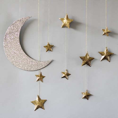 hanging moon and stars baby shower decorations