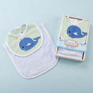 Whale Bib and Burp Set