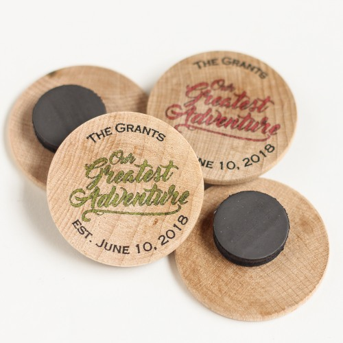 Personalized Greatest Adventure Wooden Wedding Magnets