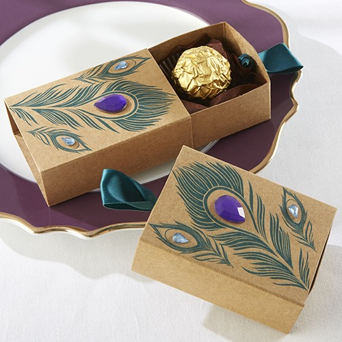 Jeweled Kraft Peacock Favor Boxes