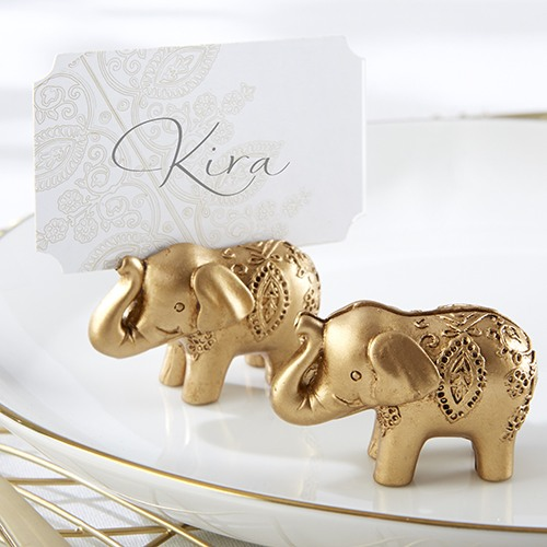 Lucky Golden Elephant Place Card Holders