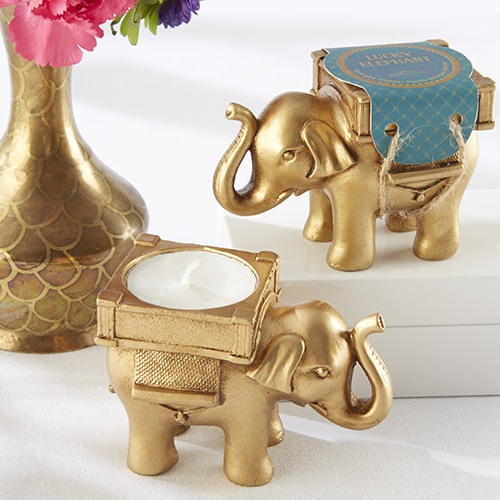 Lucky Golden Elephant Tealight Holder