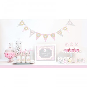 Pink Elephant Baby Shower Kit