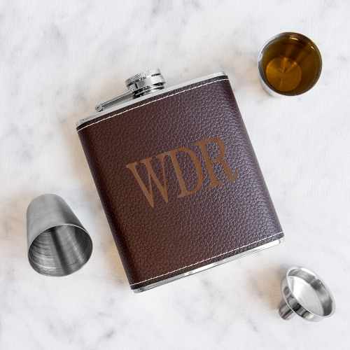 Personalized Leather Flask Set