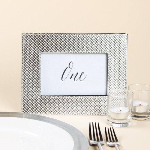 Faux Leather Metallic Frame in Silver