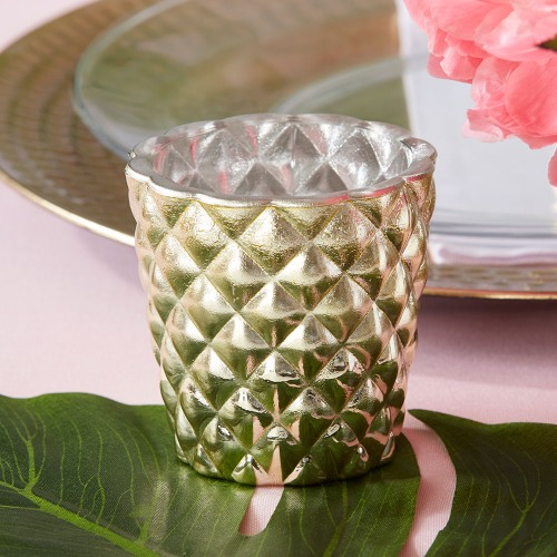 Textured Gold Votive Holders