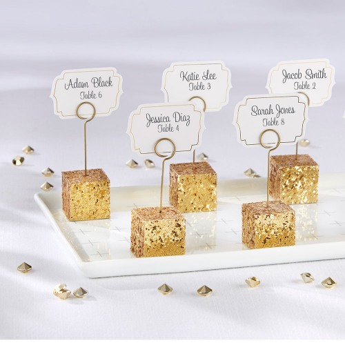 Gold Glitter Place Card Holders