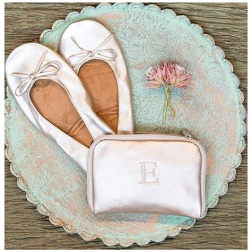 Champagne Folding Ballet Flats with Monogrammed Carrying Case