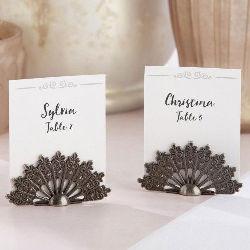 antique fan place card holders