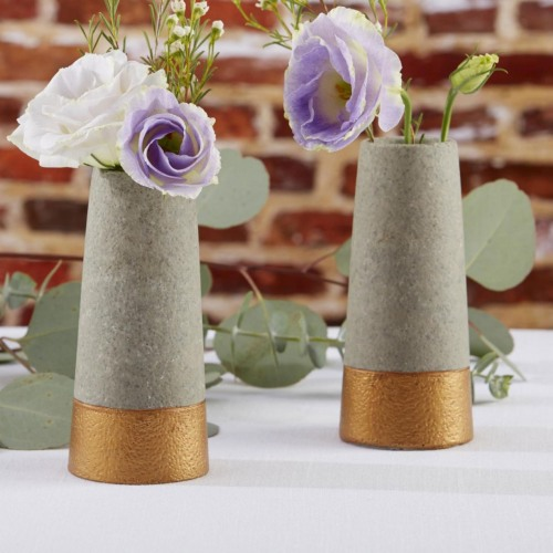 Copper and Concrete Bud Vases