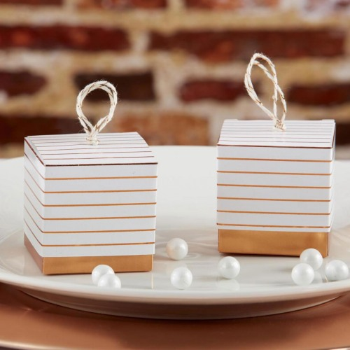 Striped Copper Foil Favor Boxes
