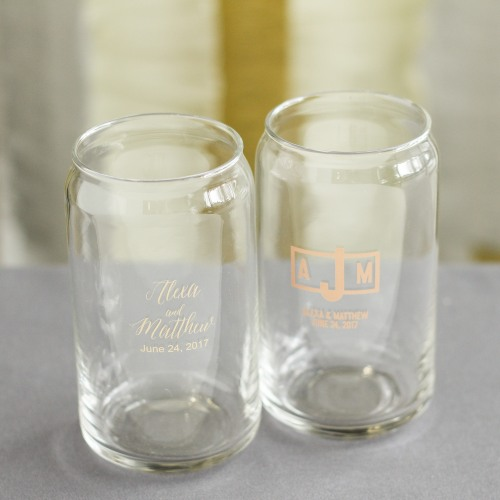 Personalized Modern Wedding Can Glasses