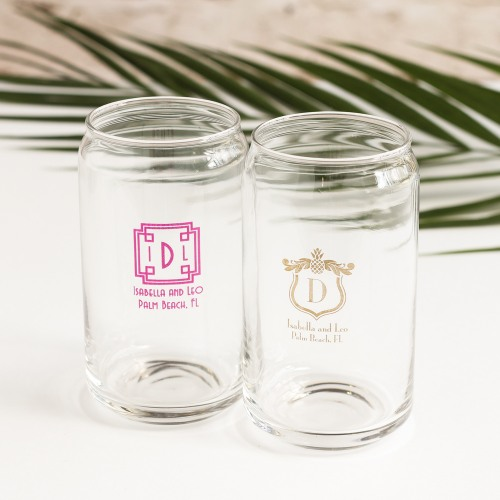 Personalized Tropical Wedding Can Glass