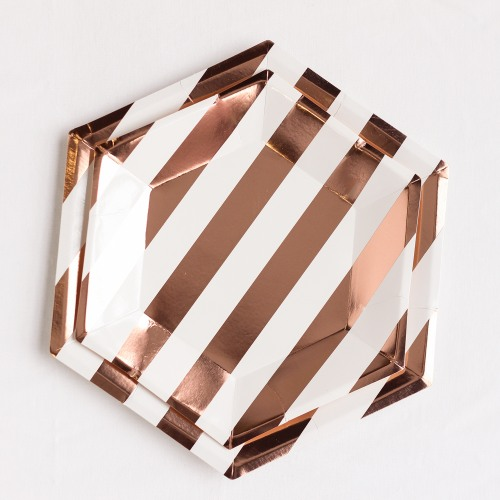 "Rose Gold 9"" Striped Plates"