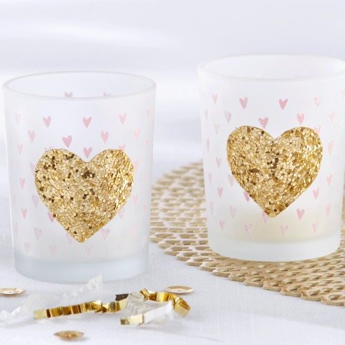 Glitter Heart Tealight Holders