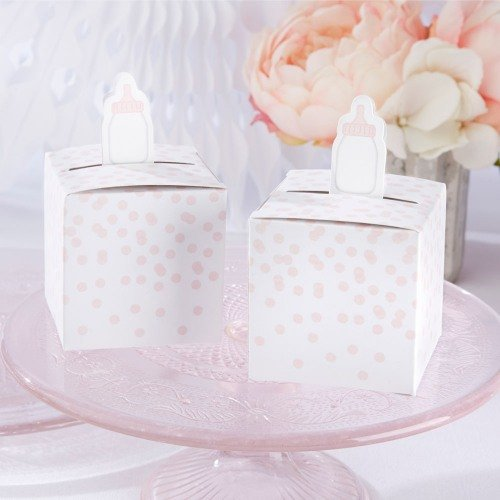 Baby Bottle Favor Boxes in Pink