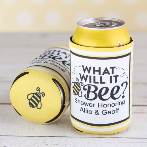 Personalized Bee Reveal Baby Can Sleeve