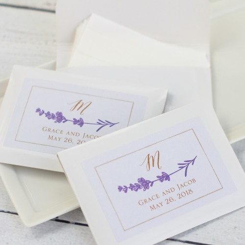 Personalized Lavender Sprig Wedding Tissue Packets