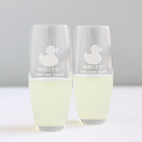 Personalized Duck Stemless Champagne Flutes