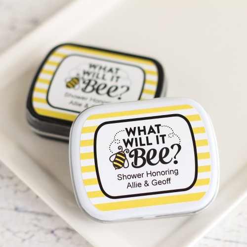 personalized bee reveal shower mint tins