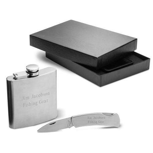 Personalized Flask & Lock Back Knife Gift Set