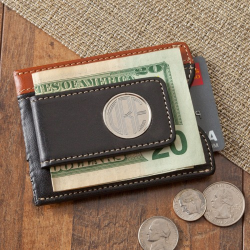 Two - Toned Leather Magnetic Money Clip Wallet