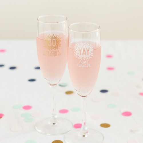 Personalized Birthday Champagne Flute Favors
