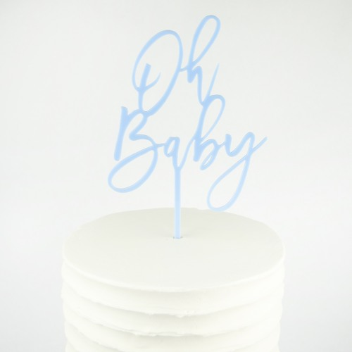 oh baby cake topper in carolina blue