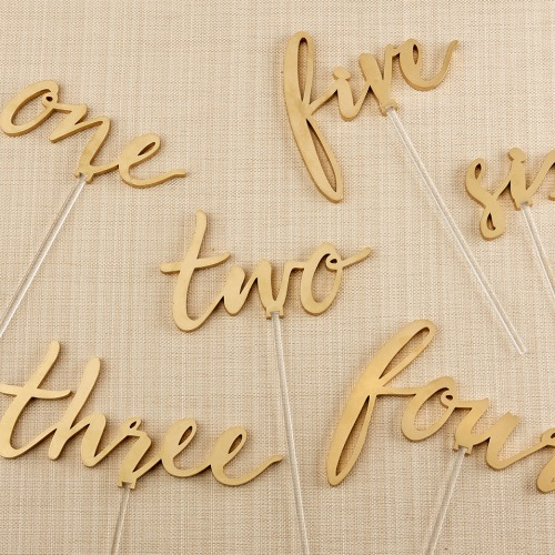 Gold Calligraphy Table Numbers 1 to 6