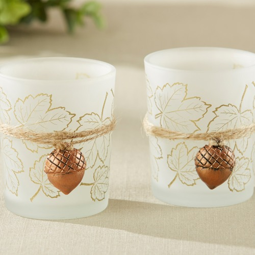 Leaf Print Tealight Holder with Copper Acorn Charm