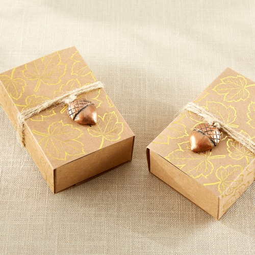 Gold Foil Leaf Print Kraft Favor Box with Acorn Charm