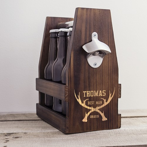 Personalized Rustic Antler Beer Carrier with Bottle Opener