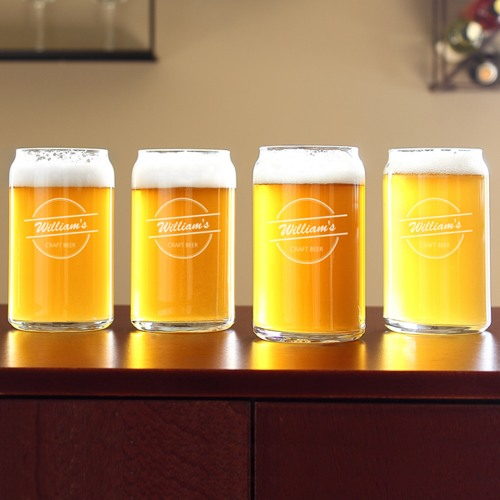 Personalized 16 oz. Home Brew Can Glasses (set of 4)