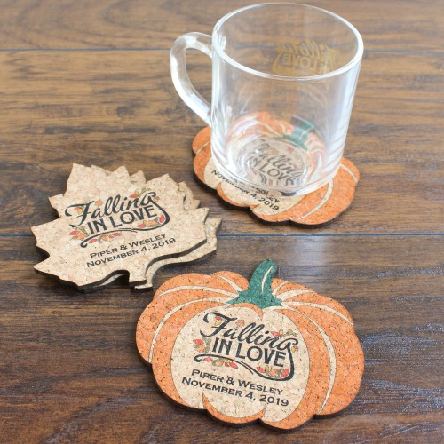 Personalized Fall Love Shaped Cork Coaster