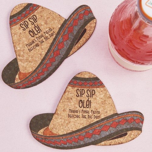Personalized Sombrero Shaped Cork Coasters