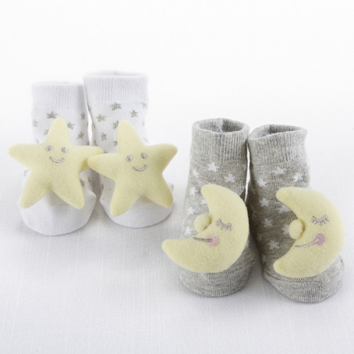Moon Stars Lullaby 2 Pair Rattle Socks