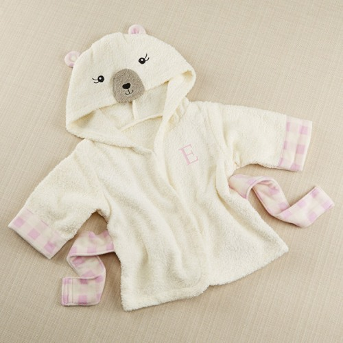 Personalized Beary Bundled Hooded Cream and Pink Robe
