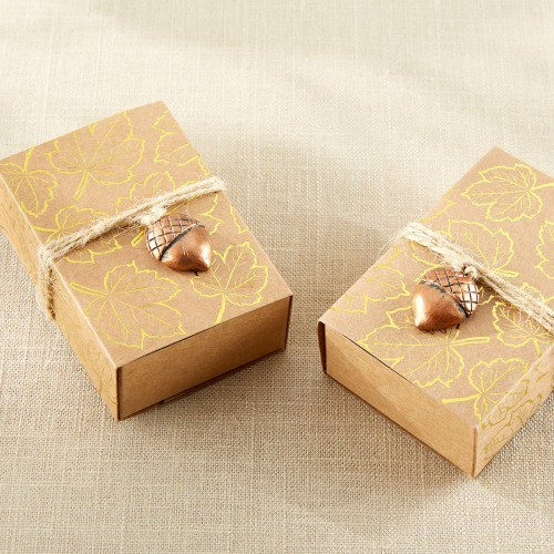 Gold Foil Leaf Print Kraft Party Favor Box with Acorn Charm