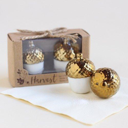 Gold Dipped Ceramic Acorn Salt & Pepper Shakers Party Favors