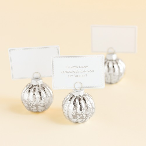 Silver Ornament Placecard Holder