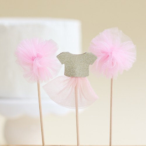We Heart Pink Cake Toppers