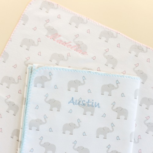 Personalized Swaddling Blanket Elephants & Chickies