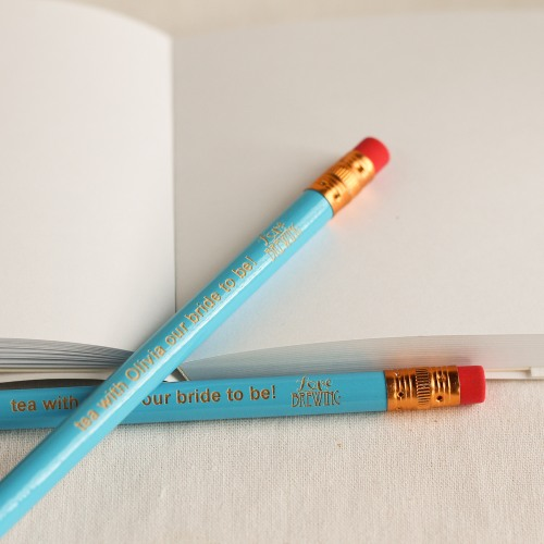 Personalized Love Is Brewing Pencils