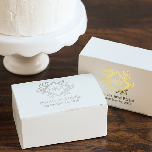 Personalized Wedding Cake Slice Boxes